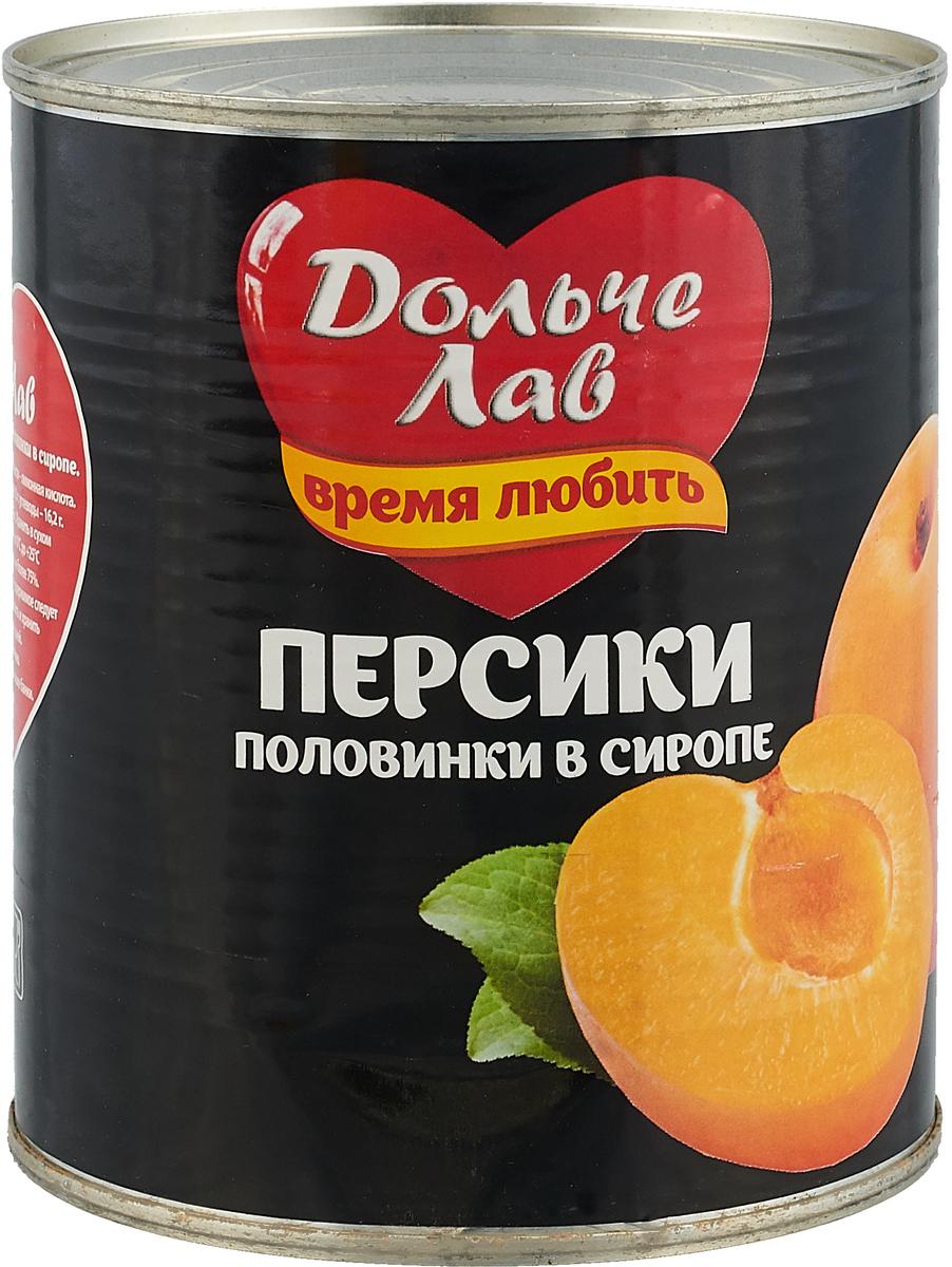 цена на Дольче Лав персики половинками в сиропе, 850 мл