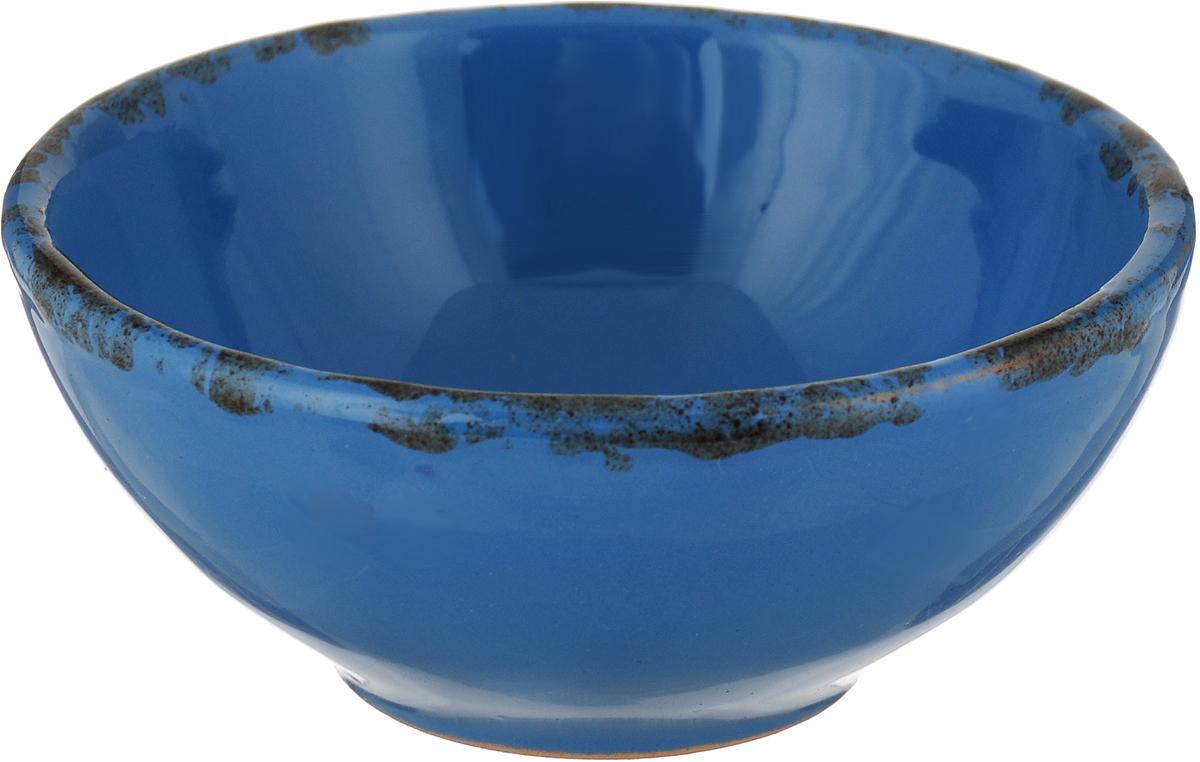 Розетка для варенья Борисовская керамика Радуга, цвет: темно-синий, голубой, 200 мл чайная пара борисовская керамика ностальгия цвет темно фиолетовый голубой 200 мл