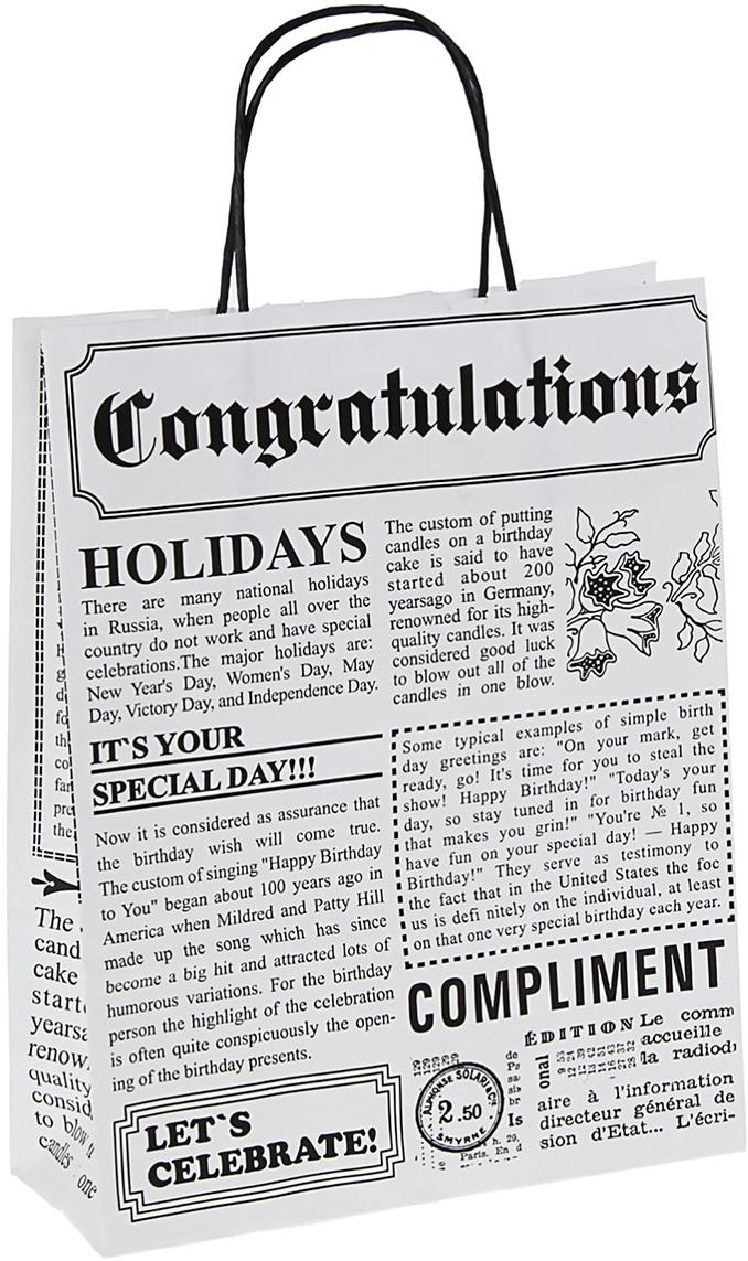 "Пакет подарочный ""Газета"", цвет: черный, 32 х 25 х 10 см. 1367049"