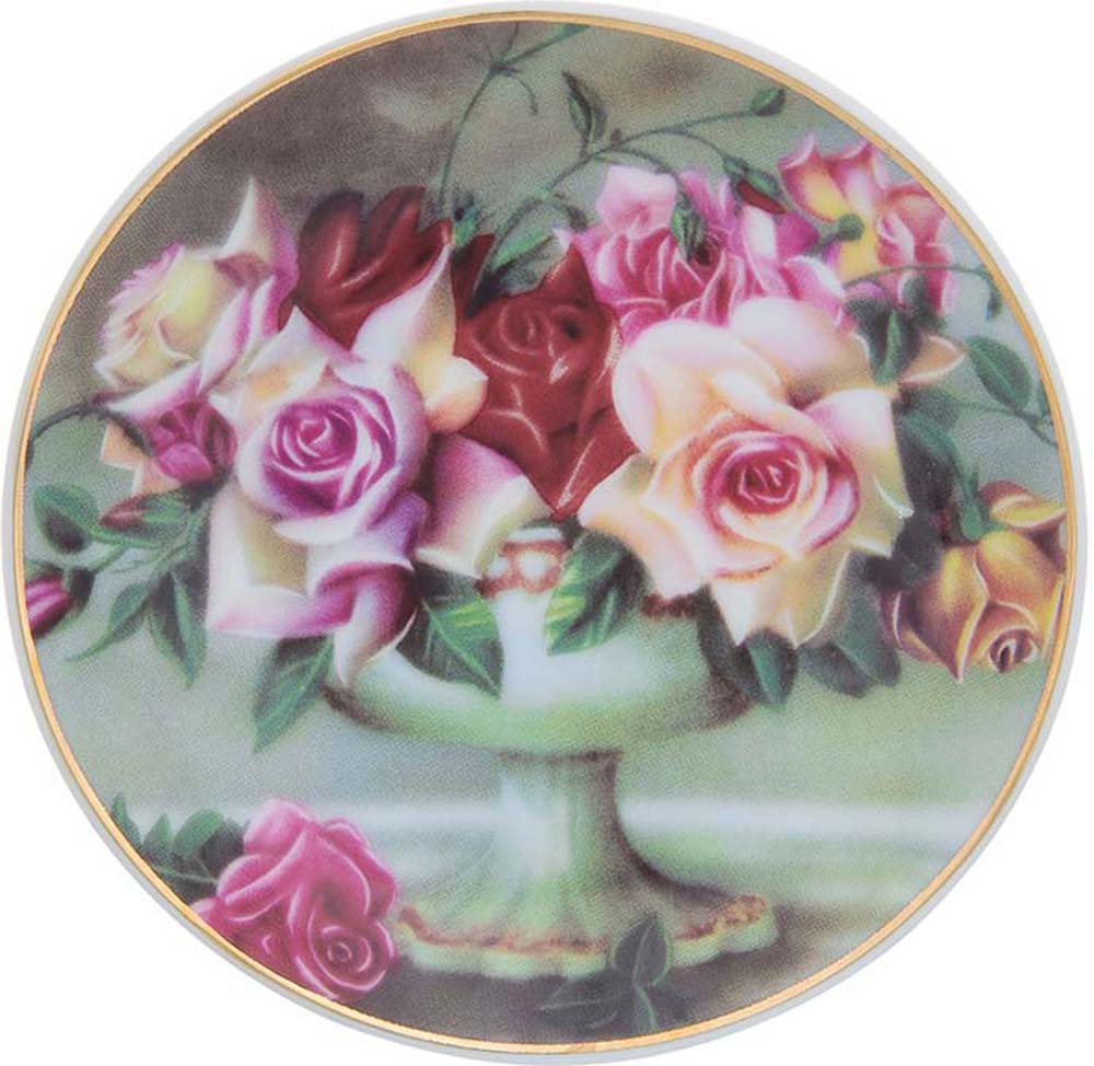 Тарелка декоративная Elan Gallery Букет из роз, с подставкой, цвет: темно-зеленый, диаметр 10 см504184Декоративная тарелка Elan Gallery Букет из роз, изготовленная из фарфора, станет необыкновенным подарком и прекрасным украшением вашего интерьера. Тарелка оснащена петелькой для подвешивания, а также ее можно разместить на пластиковой подставке, которая входит в комплект.