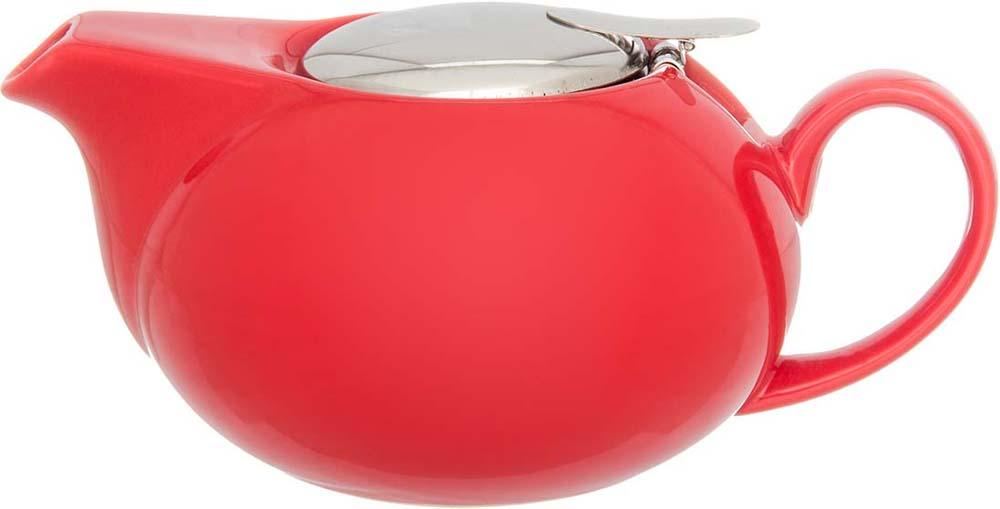 Чайник заварочный Elan Gallery, с крышкой и ситом, цвет: красный, 550 мл elan gallery чайник с металлическим ситом павлин на золоте
