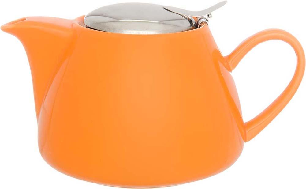 Чайник заварочный Elan Gallery, с крышкой и ситом, цвет: оранжевый, 700 мл elan gallery чайник с металлическим ситом павлин на золоте