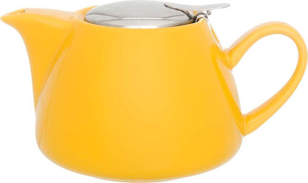 Чайник заварочный Elan Gallery, с крышкой и ситом, цвет: желтый, 700 мл elan gallery чайник с металлическим ситом павлин на золоте