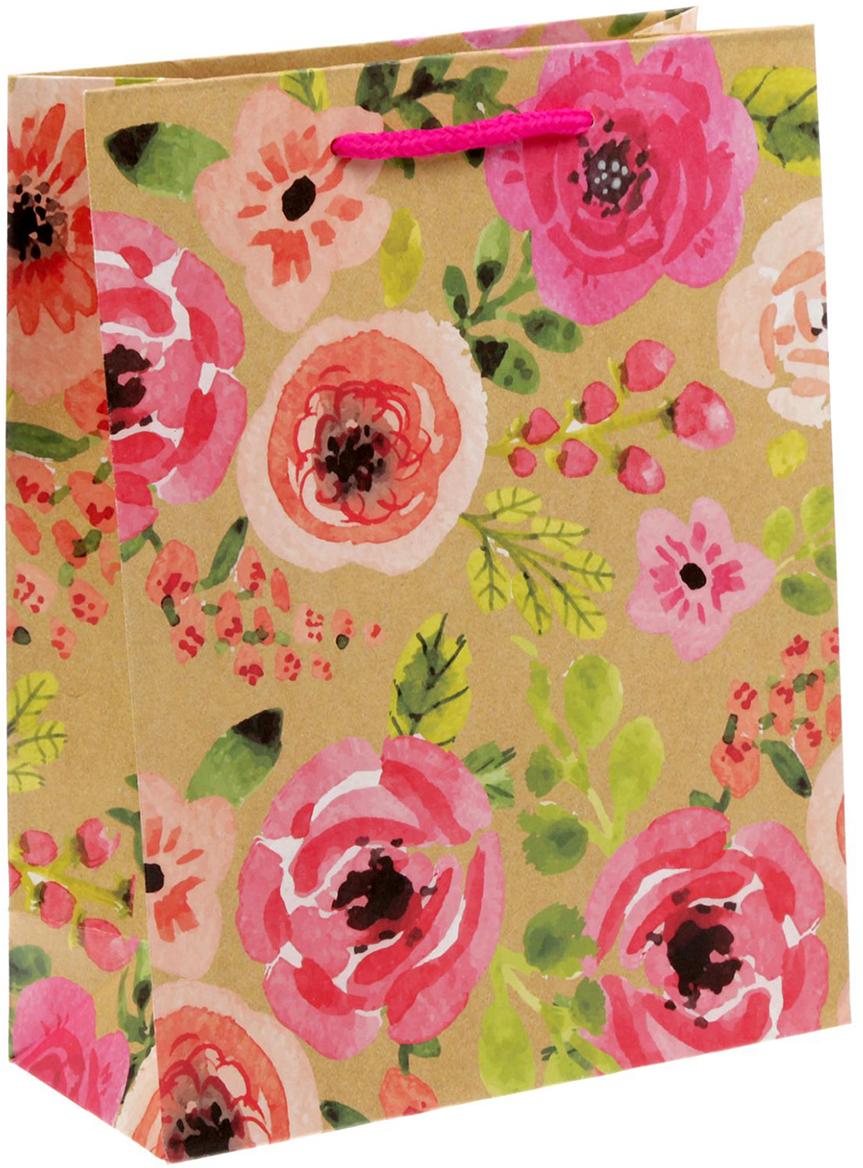 Пакет подарочный Дарите Счастье Акварельные цветы, 18 х 8 х 23 см пакет подарочный дарите счастье восторженный друг 18 х 8 х 23 см 1717586