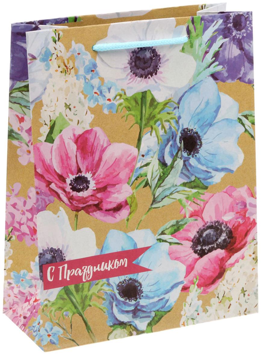 Пакет подарочный Дарите Счастье Летние цветы, 18 х 8 х 23 см пакет подарочный дарите счастье мир принадлежит тебе 32 х 35 см 165198