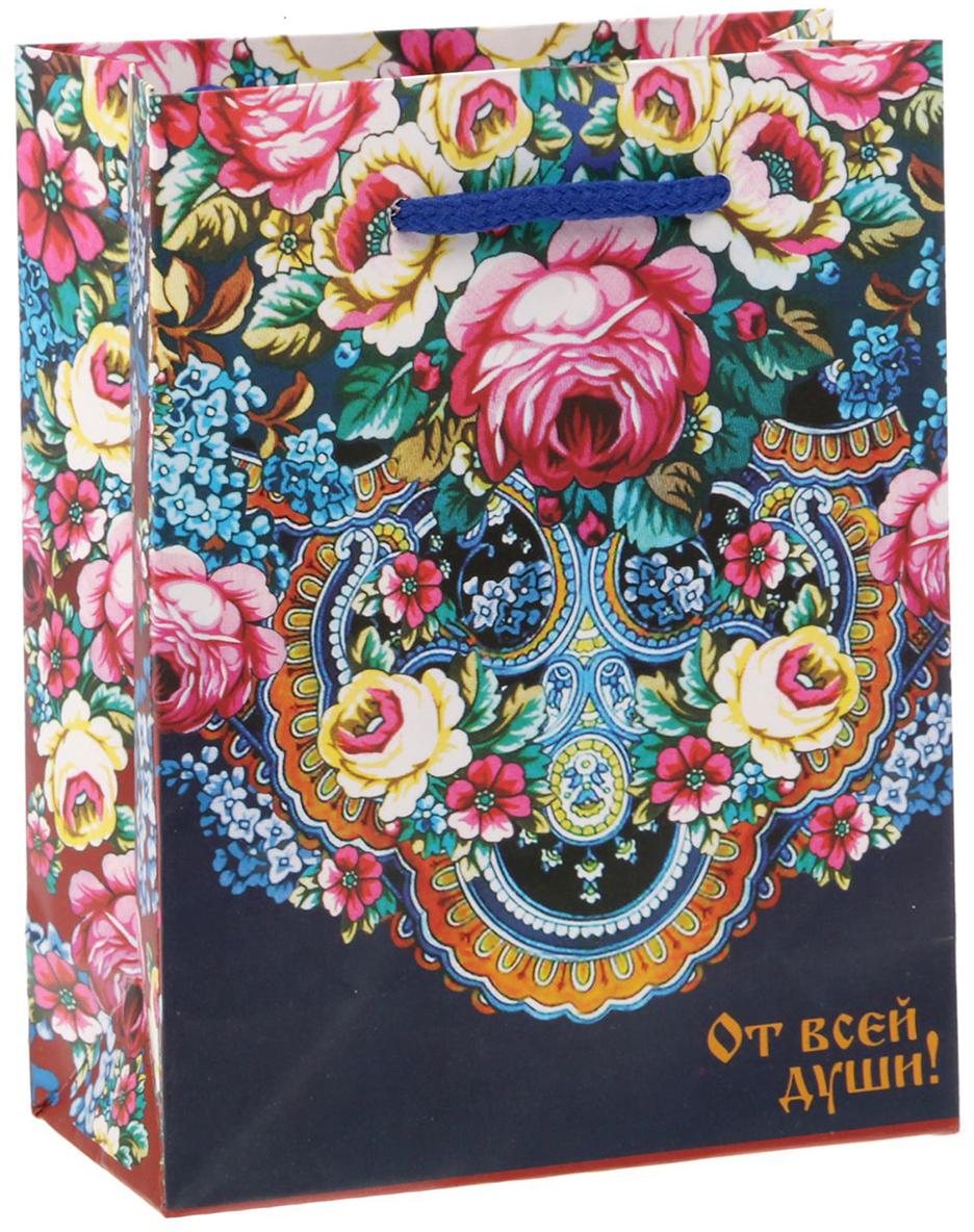Пакет подарочный Дарите Счастье Павловопосадский платок, цвет: мультиколор, 11 х 14 х 5 см. 1640870 пакет подарочный дарите счастье пасхальные угощения цвет мультиколор 12 х 7 х 19 см 2678803
