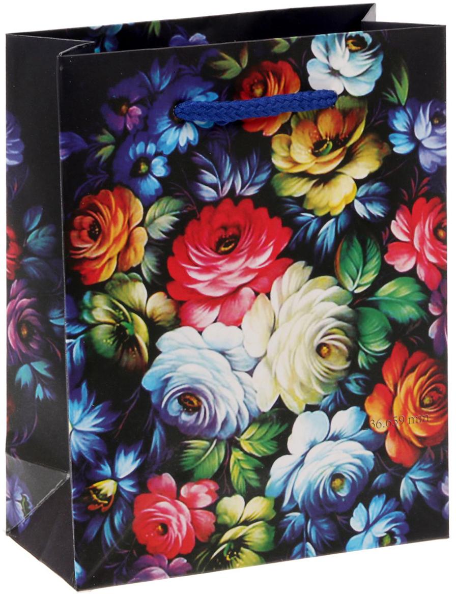 Пакет подарочный Дарите Счастье Жостово, цвет: мультиколор, 11 х 14 х 5 см. 1640878 пакет подарочный яркий цветок цвет мультиколор 11 х 5 5 х 14 5 см 2687174