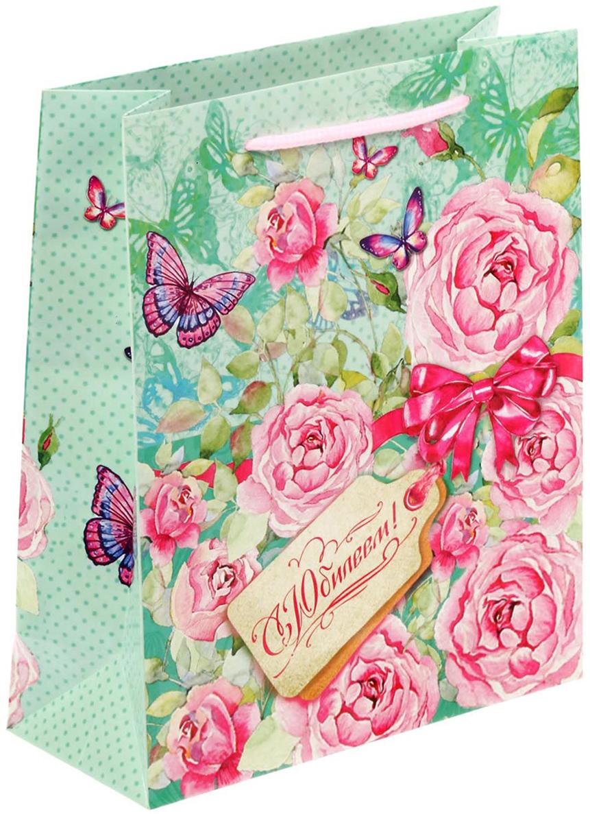 Пакет подарочный Дарите Счастье Нежные розы, цвет: мультиколор, 11 х 5 х 14 см. 1717582 пакет подарочный яркий цветок цвет мультиколор 11 х 5 5 х 14 5 см 2687174