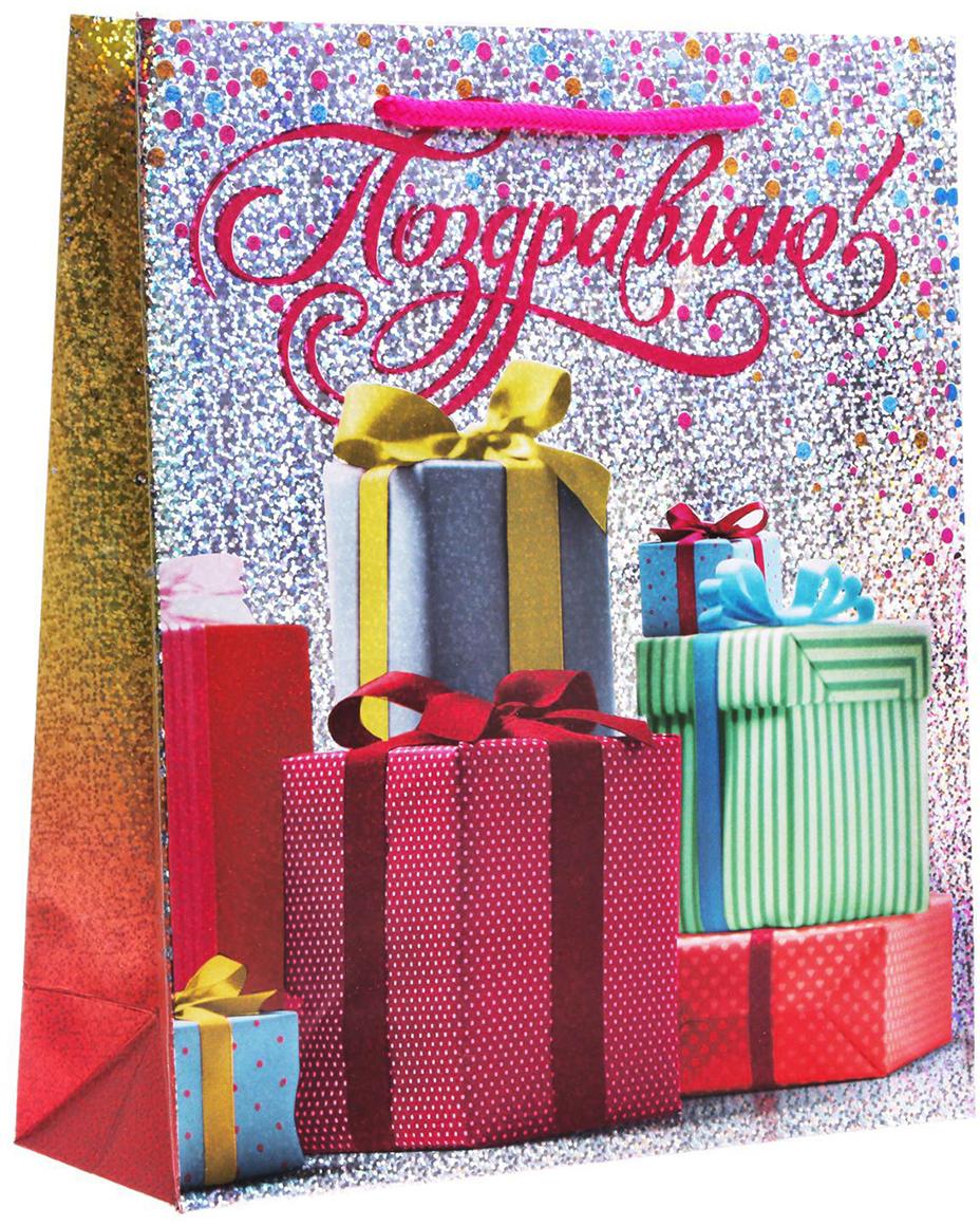 Пакет подарочный Дарите Счастье Красивые подарки, голография, цвет: мультиколор, 23 х 8 х 27 см. 1857242 пакет подарочный дарите счастье пасхальные угощения цвет мультиколор 12 х 7 х 19 см 2678803