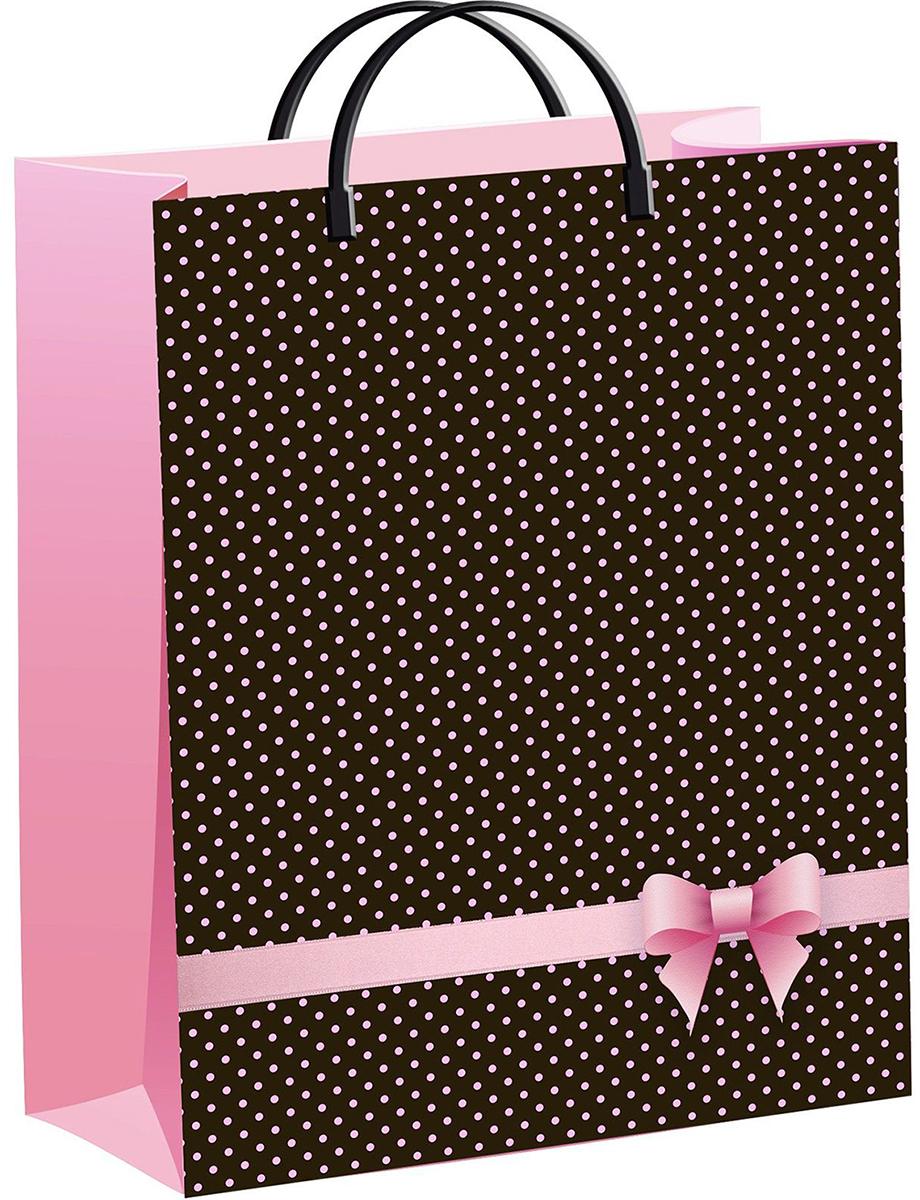 Пакет подарочный ТикоПластик Розовый бантик, цвет: коричневый, розовый, 40 х 30 см. 1882213 пакет подарочный тикопластик русский сад цвет мультиколор 30 х 30 см 2250551