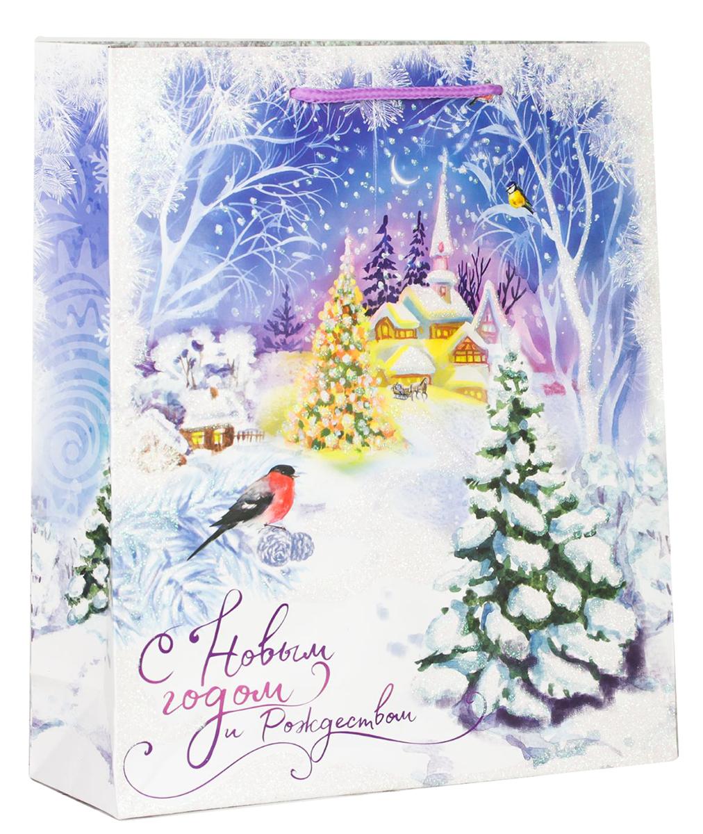Пакет подарочный Дарите Счастье Сказка зимнего леса, цвет: мультиколор, 12 х 5,5 х 15 см. 2113909 пакет подарочный дарите счастье пасхальные угощения цвет мультиколор 12 х 7 х 19 см 2678803