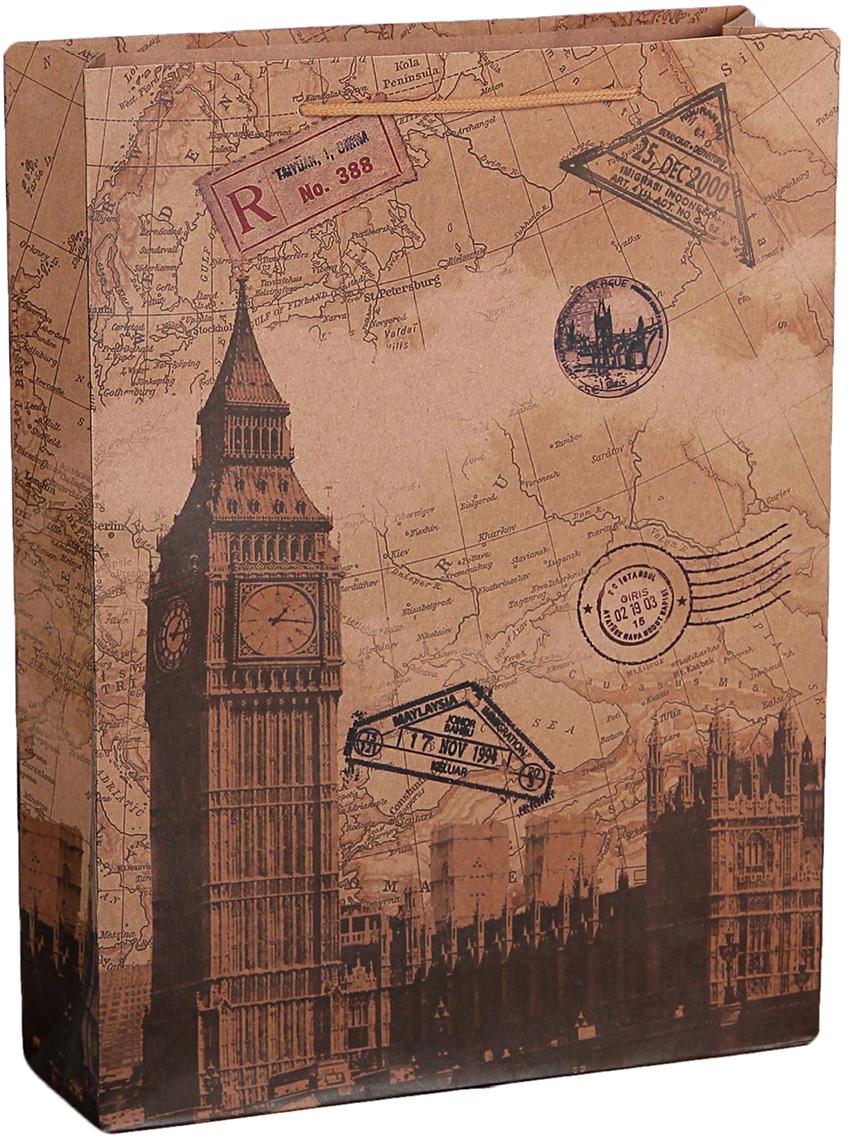 цена на Пакет подарочный Лондон, цвет: коричневый, 31,5 х 9,5 х 41,5 см. 2450969
