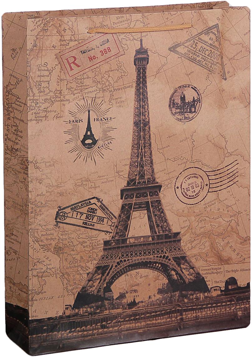 цена на Пакет подарочный Париж, цвет: коричневый, 31,5 х 9,5 х 41,5 см. 2450970
