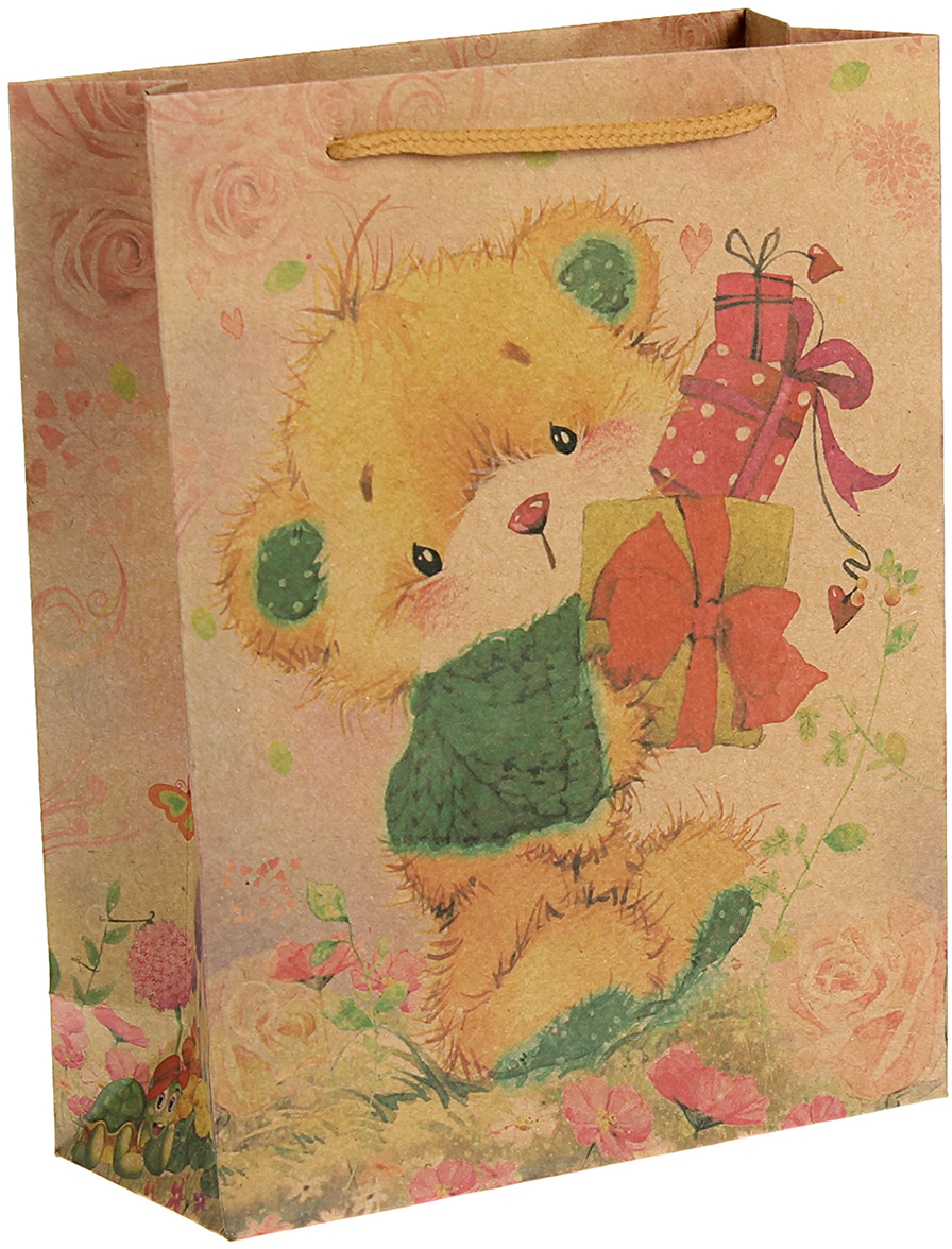 Пакет подарочный Подарки, цвет: мультиколор, 24 х 33 х 8 см. 2451001 пакет подарочный тикопластик русский сад цвет мультиколор 30 х 30 см 2250551