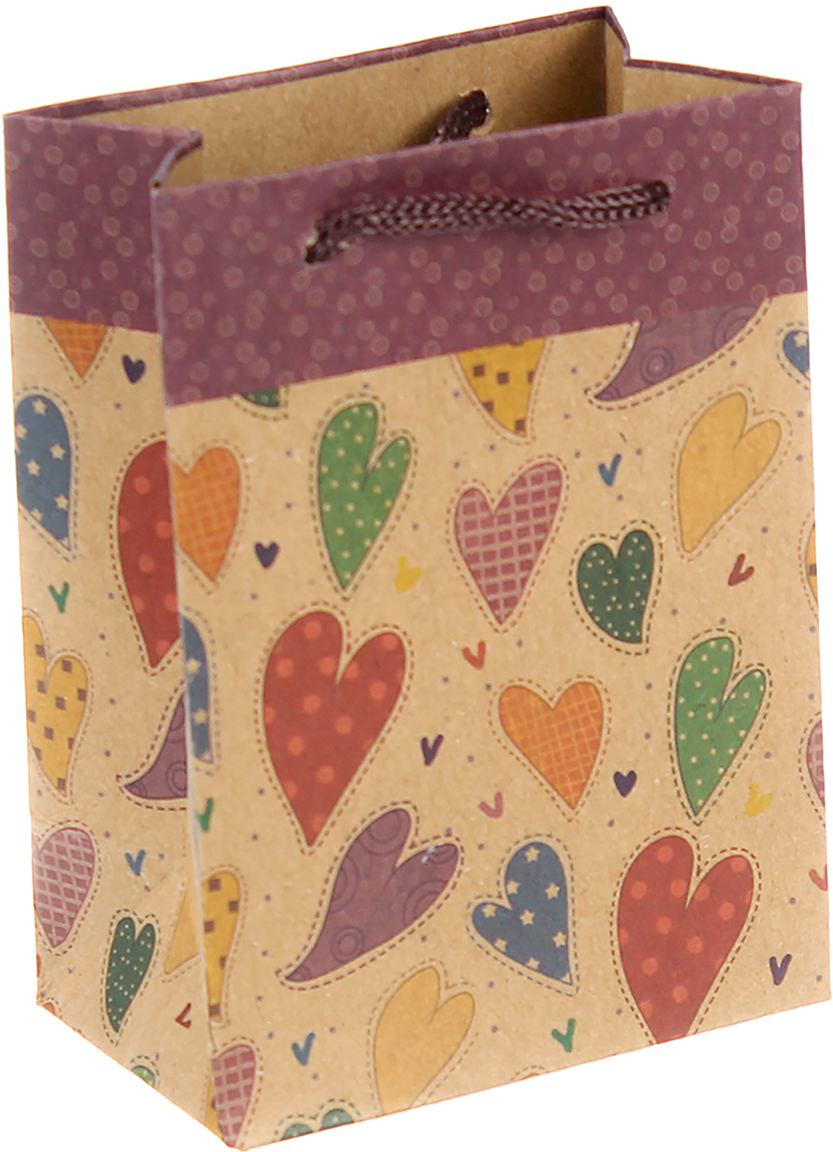 Пакет подарочный Разноцветные сердца, цвет: мультиколор, 8 х 5 х 11 см. 2451089 пакет подарочный яркий цветок цвет мультиколор 11 х 5 5 х 14 5 см 2687174