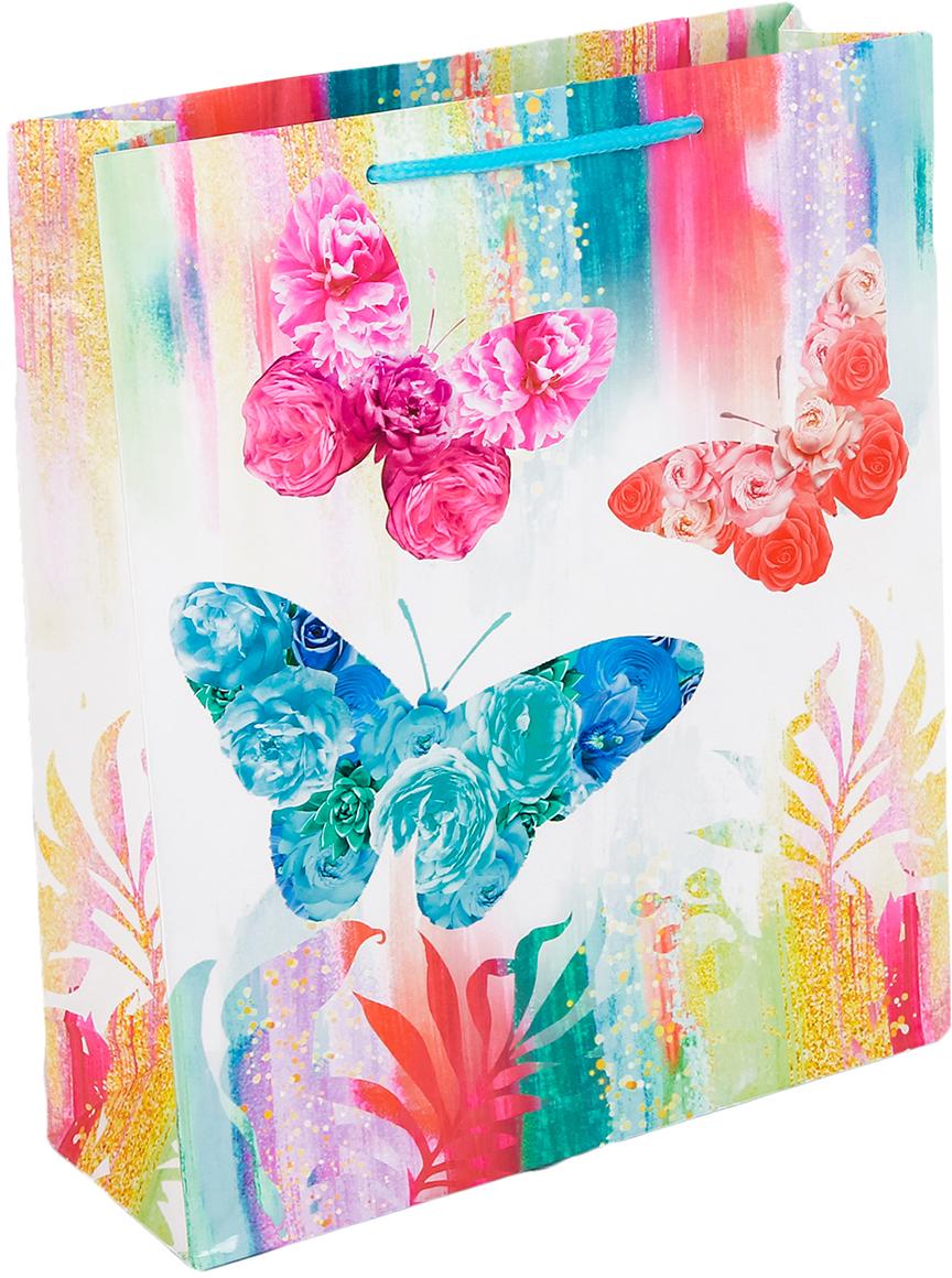 Пакет подарочный Дарите Счастье Бабочки, цвет: мультиколор, 31 х 9 х 40 см. 2634295 пакет открытка подарочный дарите счастье я твой сюрприз цвет мультиколор 16 8 х 19 см 565327