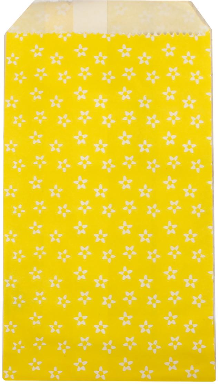 "Пакет подарочный ""Цветочки"", цвет: желтый, 8 х 15 х 3 см. 2654321"