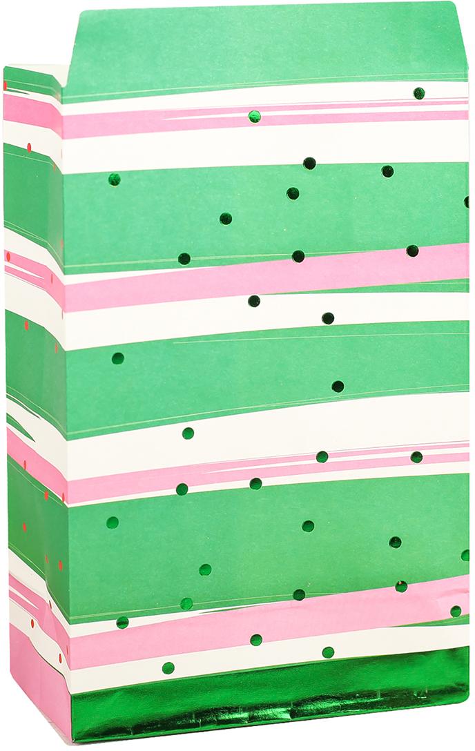Пакет подарочный, цвет: зеленый, 20 х 13 х 7,5 см. 2654341
