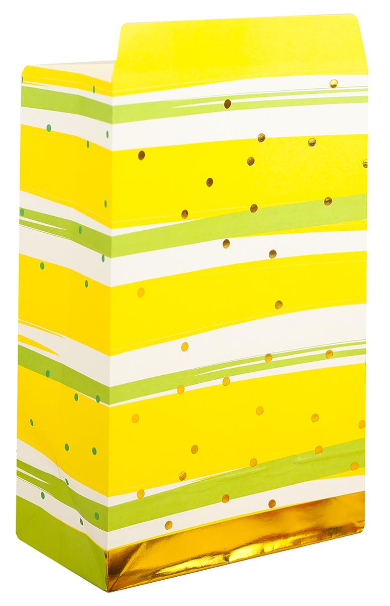 Пакет подарочный, цвет: желтый, 20 х 13 х 7,5 см. 2654343