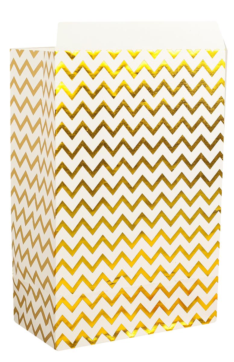 Пакет подарочный, цвет: золотой, 20 х 13 х 7,5 см. 2654346