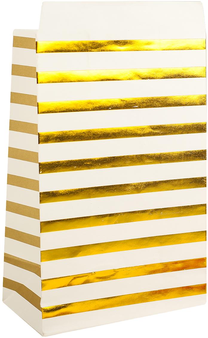 Пакет подарочный, цвет: золотой, 20 х 13 х 7,5 см. 2654350