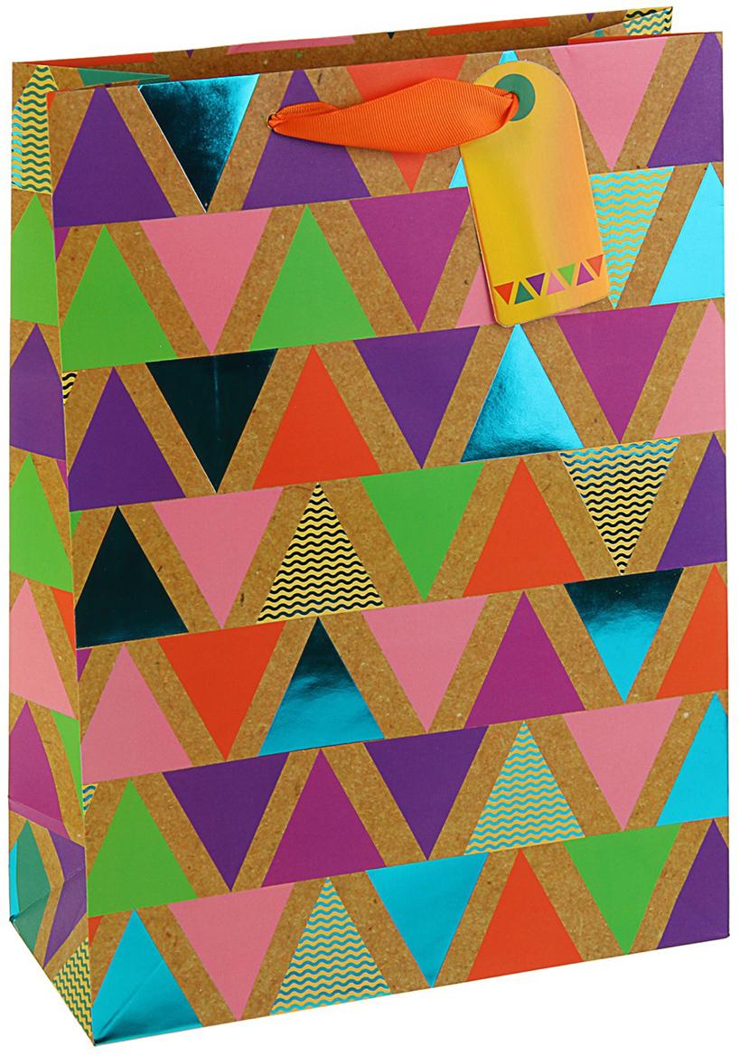 Пакет подарочный Арт и Дизайн Люкс. Пирамидки, цвет: мультиколор, 32 х 26,4 х 12 см. 3092268 арт дизайн пакет премиум всpr размер 178х230