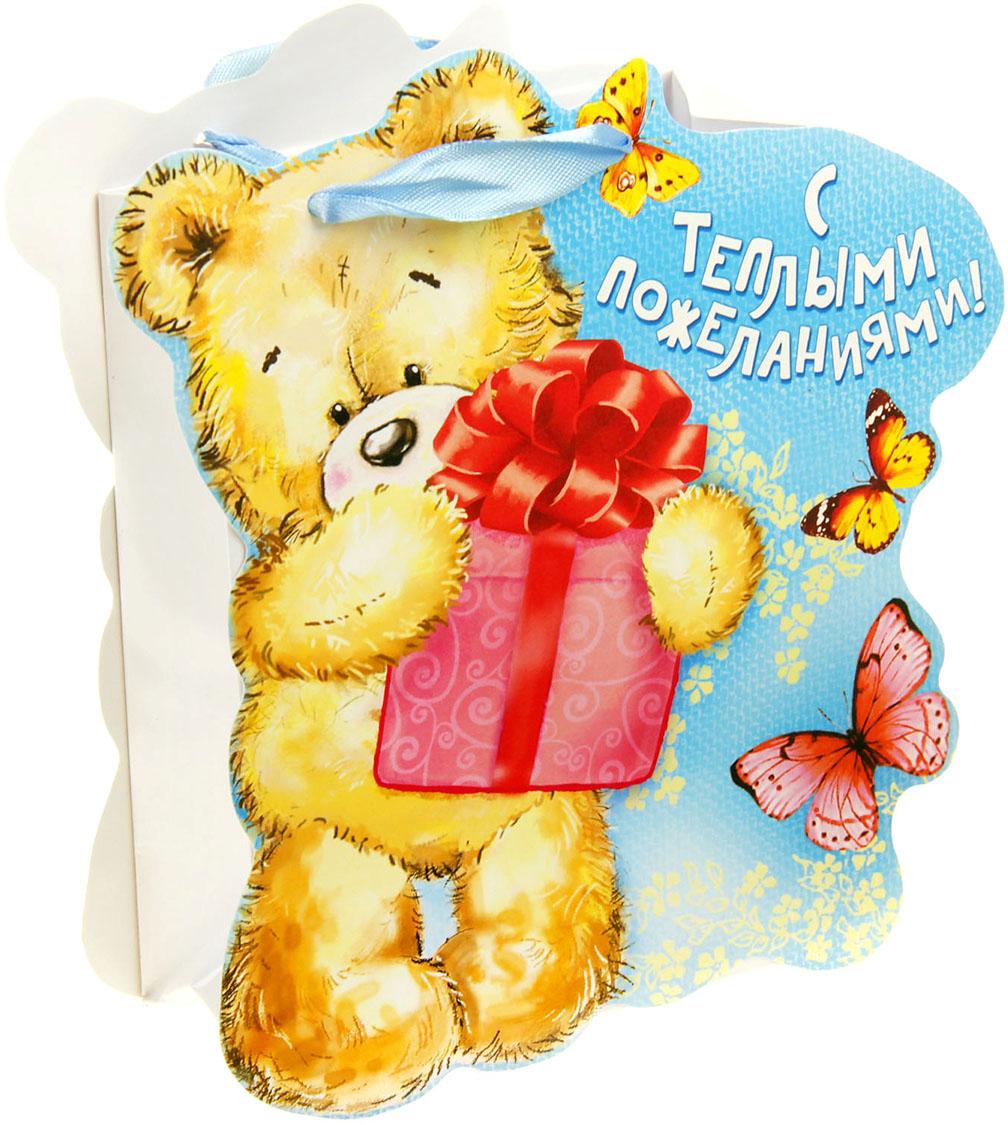 Подпись открытке, мишка с подарком открытка