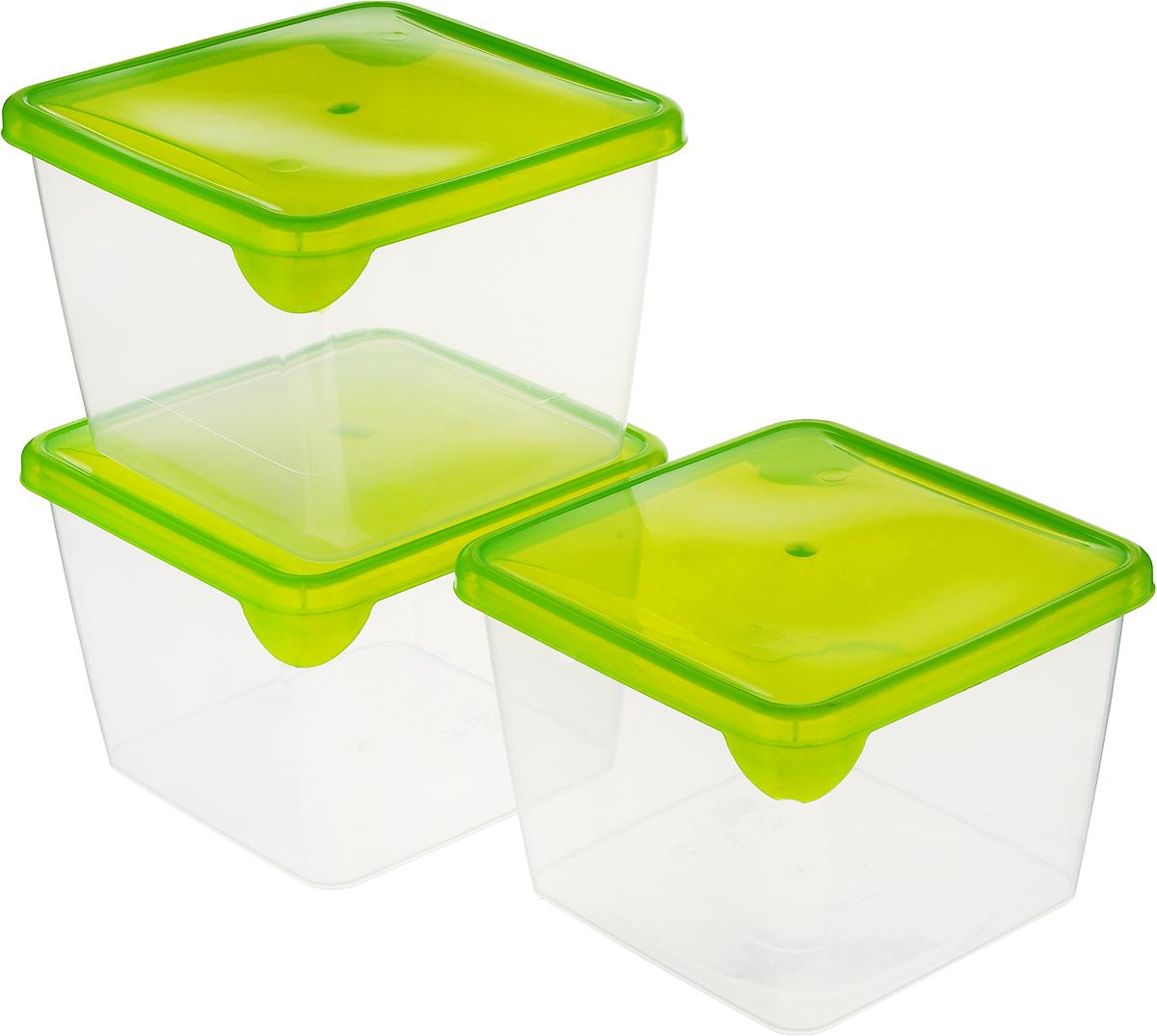 Комплект емкостей для продуктов Giaretti Браво, цвет: прозрачный, салатовый, 750 мл, 3 шт емкость для продуктов giaretti браво цвет белый прозрачный 900 мл gr1068