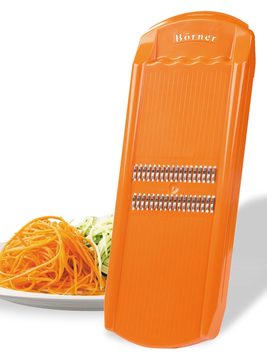 судок для овощерезок и тёрок borner моделей классика и тренд цвет сиреневый Овощерезка Borner Роко (корейская морковь) модель Тренд, цвет: оранжевый