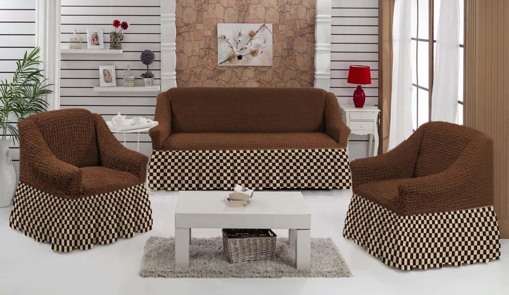 Чехол для углового дивана МарТекс Шах-Мат, цвет: коричневый, . 05-0795-3 набор чехлов для дивана и кресел мартекс с карманами 3 предмета 05 0751 3