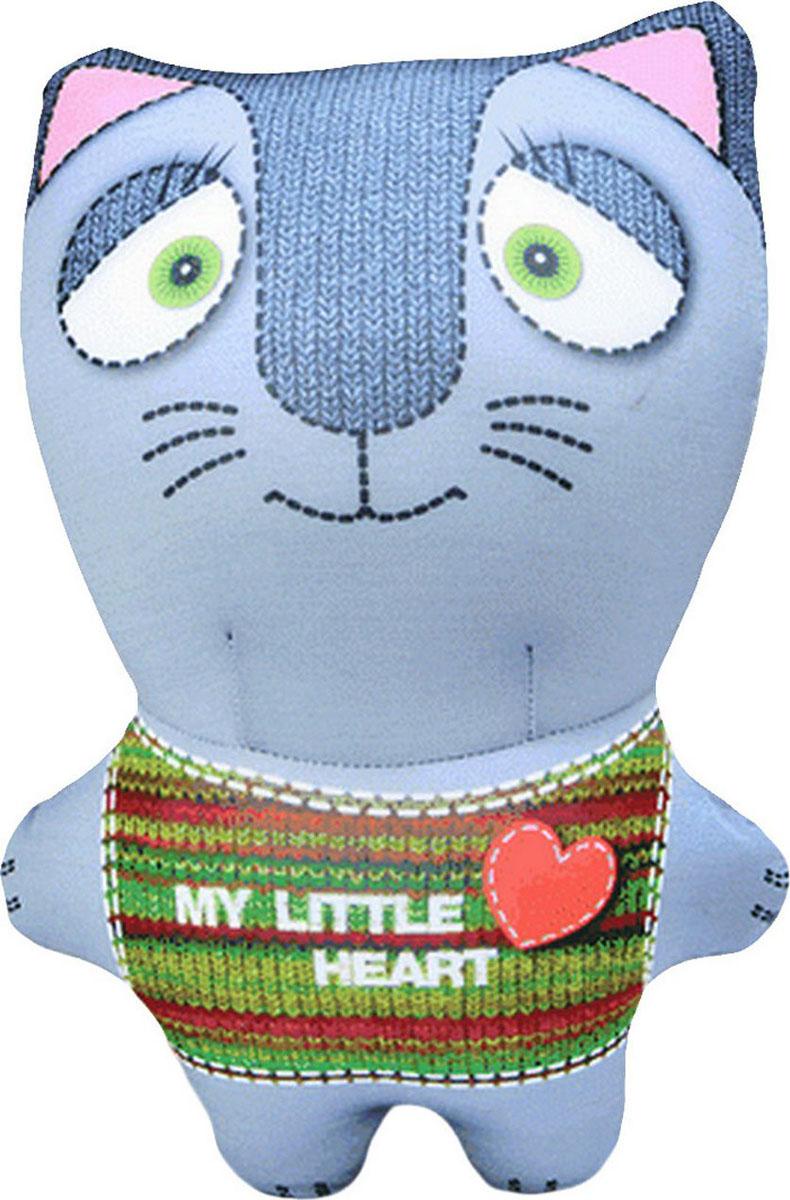 Подушка-игрушка антистрессовая Звери вязаные. Кот, серый