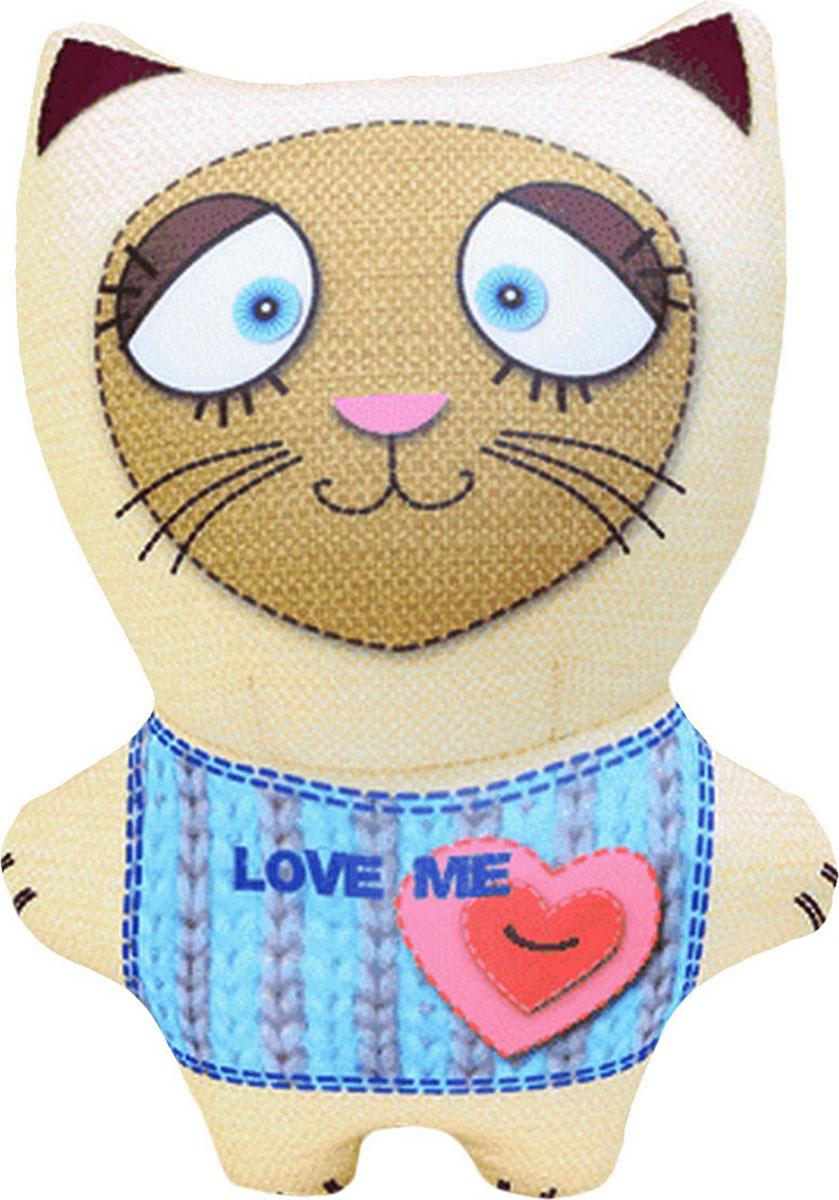 Подушка-игрушка антистрессовая Звери вязаные. Кот, бежевый