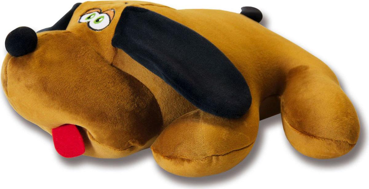 Подушка-игрушка антистрессовая Собака Джой, коричневый