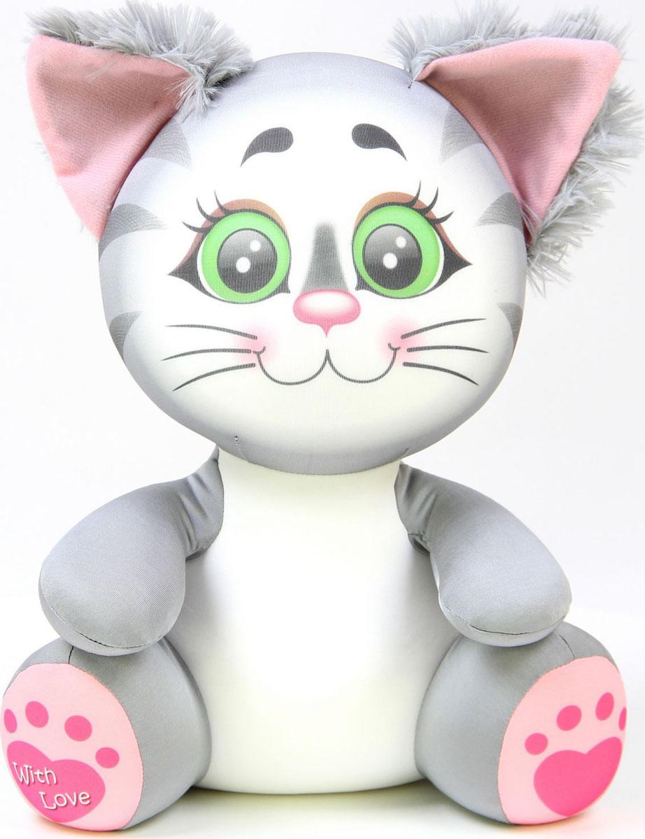 Подушка-игрушка антистрессовая Лапуши. Кошка, серый