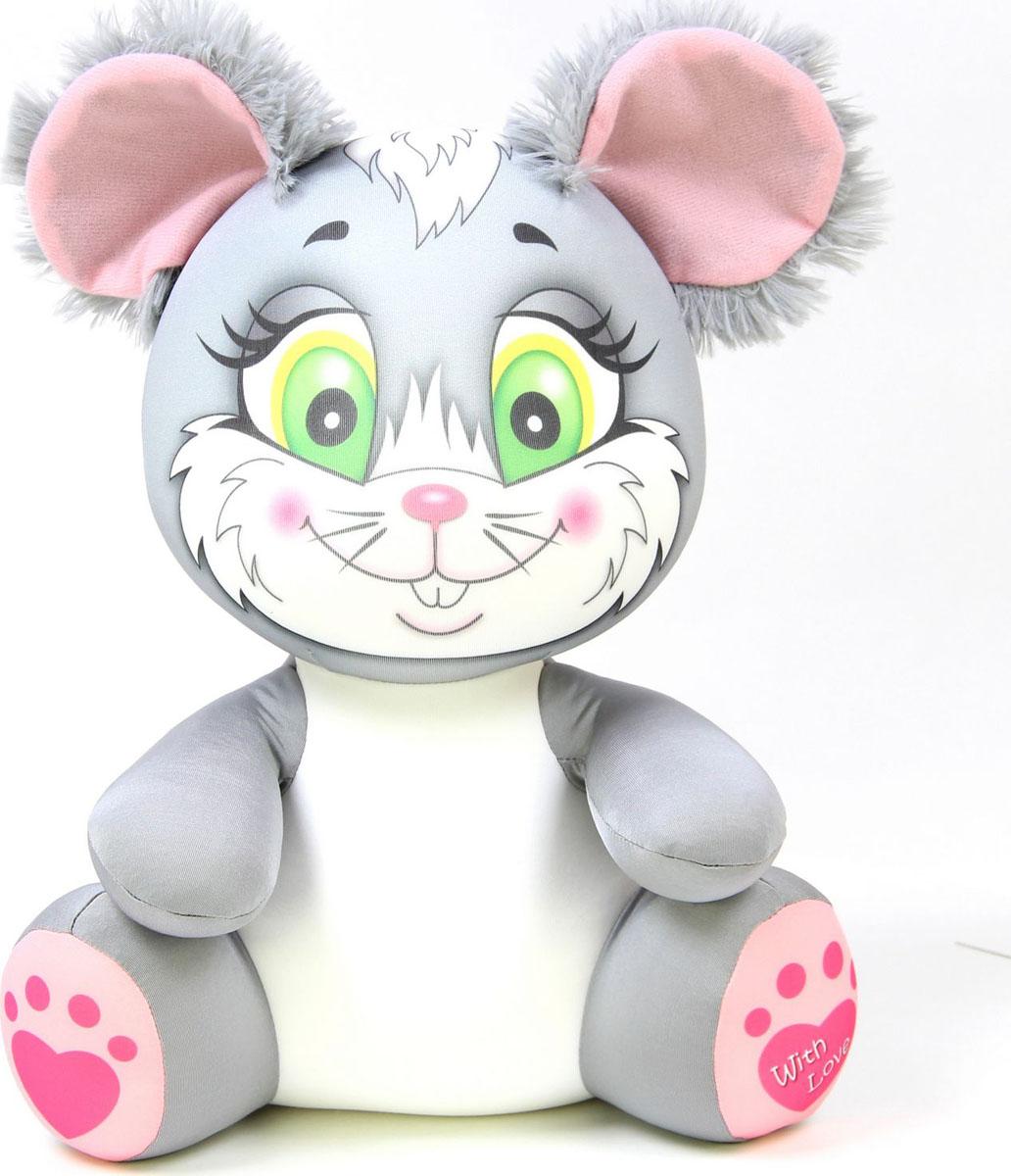 Подушка-игрушка Штучки, к которым тянутся ручки антистрессовая Лапуши. Мышь, серый