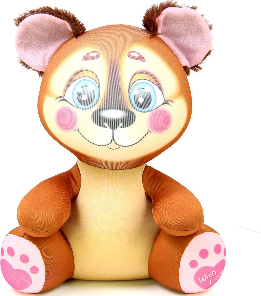 Подушка-игрушка антистрессовая Лапуши. Медведь, коричневый