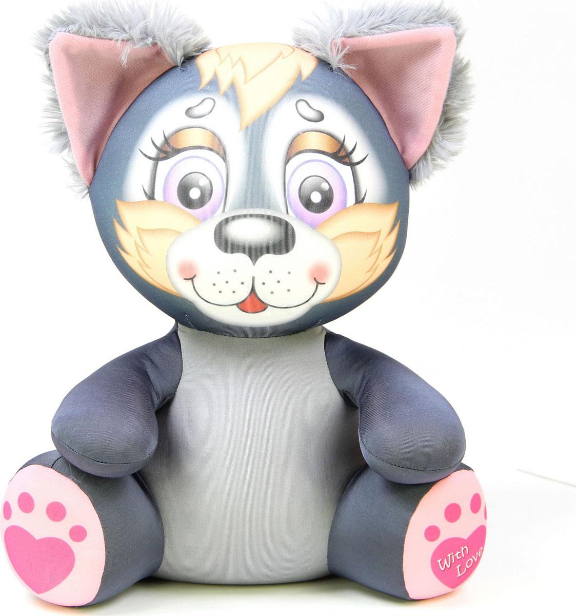 Подушка-игрушка Штучки, к которым тянутся ручки антистрессовая Лапуши. Волк, серый