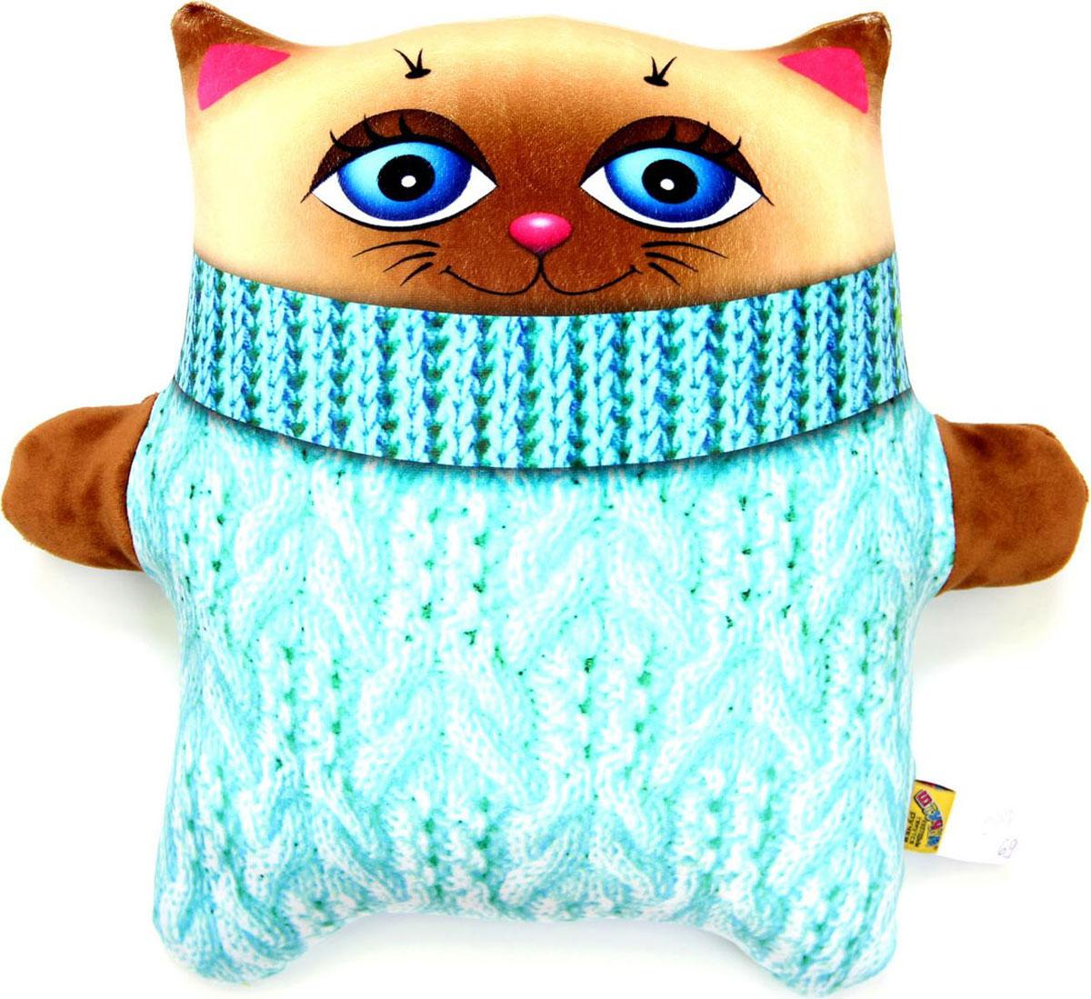 Подушка-игрушка антистрессовая Кот зяблик, голубой