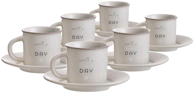 Набор чашек для кофе D'Casa Bistro, цвет: серый, 100 мл, 6 шт nouvelle набор чашек кошки 230 мл