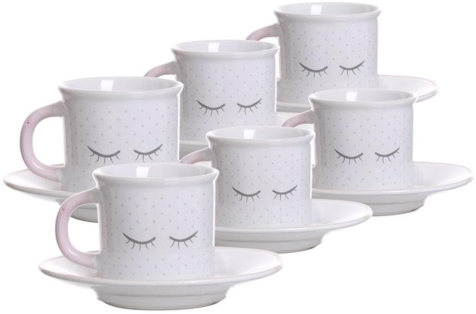Набор чашек для кофе D'Casa Chic, цвет: белый, 100 мл, 6 шт nouvelle набор чашек кошки 230 мл
