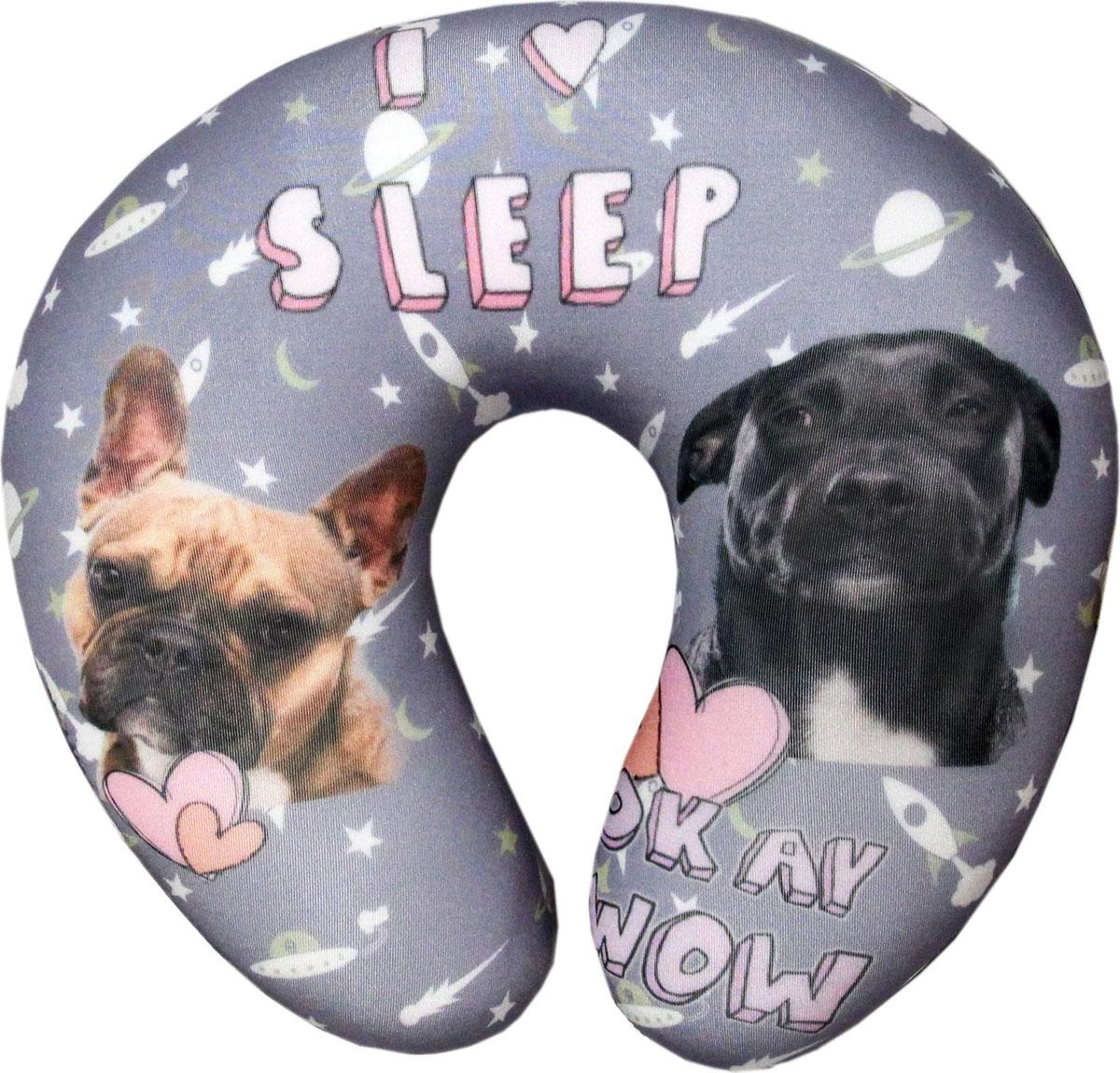 Подушка-антистресс для шеи Собаки пара, цвет: серый, 30 х 27 см подушка антистресс для шеи армейский 30 х 27 см 16асп32ив 1