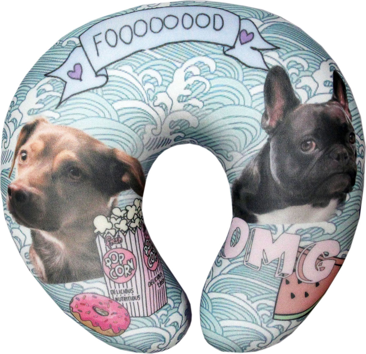 Подушка-антистресс для шеи Собаки пара, цвет: бирюзовый, 30 х 27 см подушка антистресс для шеи армейский 30 х 27 см 16асп32ив 1