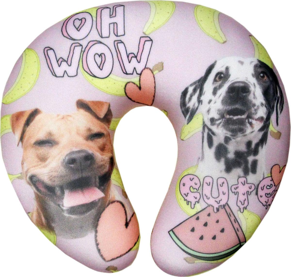Подушка-антистресс для шеи Собаки пара, цвет: розовый, 30 х 27 см подушка антистресс для шеи армейский 30 х 27 см 16асп32ив 1