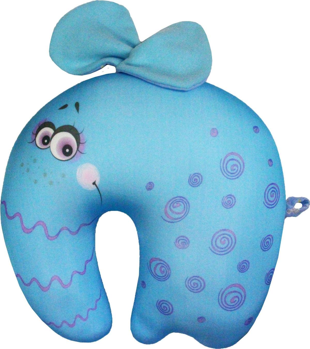 Подушка-антистресс для шеи Слоники, цвет: голубой, 32 х 30 см