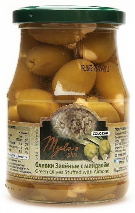 Mylos plus Colossal Оливки зеленые с миндалём, 0,37 л