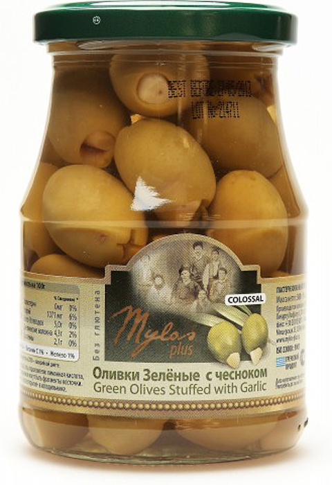 Mylos plus Colossal Оливки зелёные с чесноком, 0,37 л