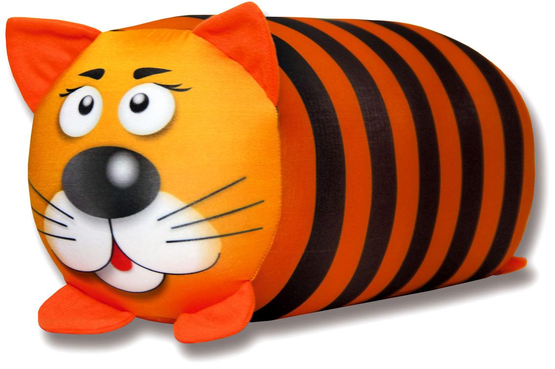 Подушка-валик антистрессовая Штучки, к которым тянутся ручки Кот полосатый, цвет: оранжевый, 38 x 18 см подушка антистрессовая штучки к которым тянутся ручки смайл мордочки цвет оранжевый 31 x 31 см