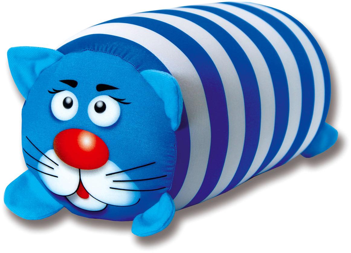 Подушка-валик антистрессовая Штучки, к которым тянутся ручки Кот полосатый, цвет: голубой, 38 x 18 см подушка валик антистрессовая штучки к которым тянутся ручки кот полосатый цвет малиновый 38 x 18 см
