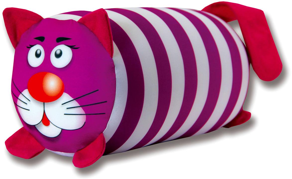 Подушка-валик антистрессовая Штучки, к которым тянутся ручки Кот полосатый, цвет: малиновый, 38 x 18 см подушка валик антистрессовая штучки к которым тянутся ручки кот полосатый цвет малиновый 38 x 18 см