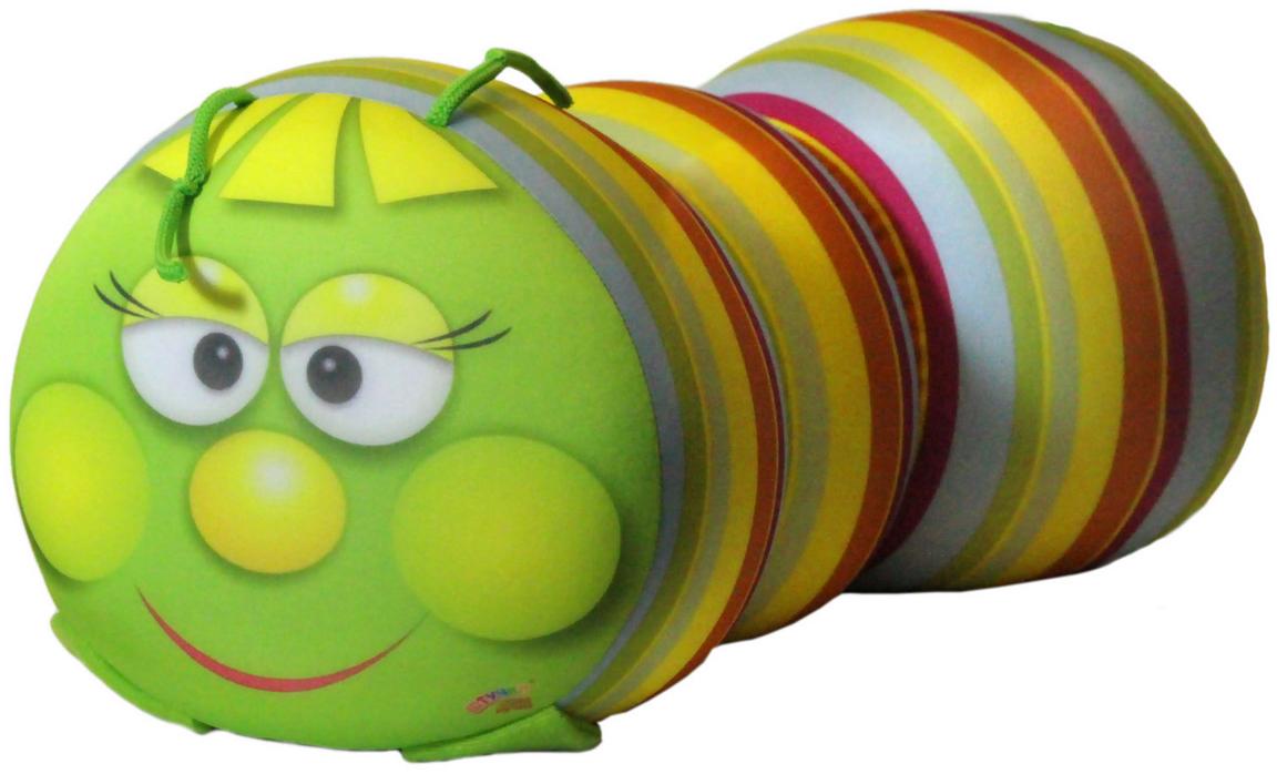 Подушка-валик антистрессовая Штучки, к которым тянутся ручки Гусеница, цвет: салатовый, 38 x 18 см. 12аси03ив-1 подушка валик антистрессовая штучки к которым тянутся ручки кот полосатый цвет малиновый 38 x 18 см